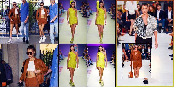 -21/09/2018- ─ Bella Hadid a été photographiée alors qu'elle quittait le défilé de « Tod's » pour la FW19 étant dans Milan.La belle mannequin Bella a défilé pour la marque « Versace » puis pour « Tod's » pour la fashion week. Concernant ses tenues, ce sont des bof pour moi.