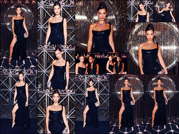-21/09/2018- ─ Bella Hadid était présente lors du dîner « Bulgari SS 2019 Accessories Collection » étant dans Milan, ItalieLa belle mannequin Bella Hadid était donc présente au dîner étant l'égérie de la marque luxueuse. Concernant sa tenue, c'est un très jolie top de ma part.