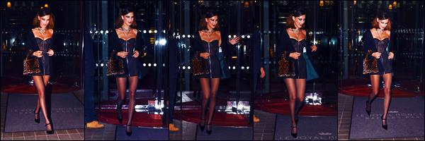 -25/09/2018- ─ Bella Hadid a été photographiée, alors, qu'elle quittait l'hôtel « The Royal Monceau », étant, dans - Paris !La belle mannequin Bella Hadid était donc présente au dîner étant l'égérie de la marque luxueuse. Concernant sa tenue, c'est un très jolie top de ma part.