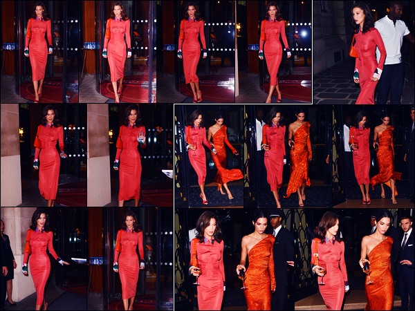 -26/09/2018- ─ Bella Hadid a été photographiée, alors, qu'elle quittait l'hôtel « The Royal Monceau », étant, dans - Paris !La belle mannequin Bella Hadid a été photographiée plus tard dans la soirée quittant l'hôtel « George V » avec Kendall Jenner. Concernant sa tenue, top !