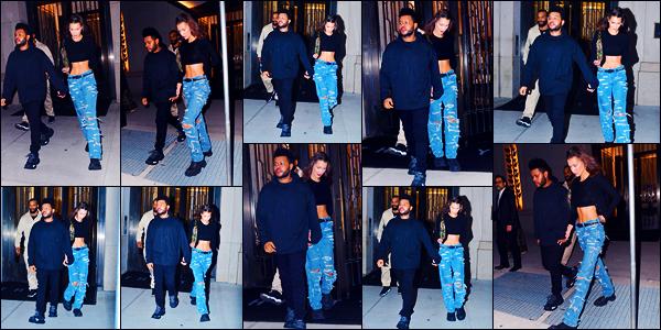-28/09/2018- ─ Bella Hadid a été photographiée alors qu'elle quittait son appartement se situant dans la ville à New-YorkLa belle mannequin Bella Hadid qui était en compagnie de The Weeknd, est donc de retour à N-Y, la fashion week c'est donc finis pour elle. Un beau top.