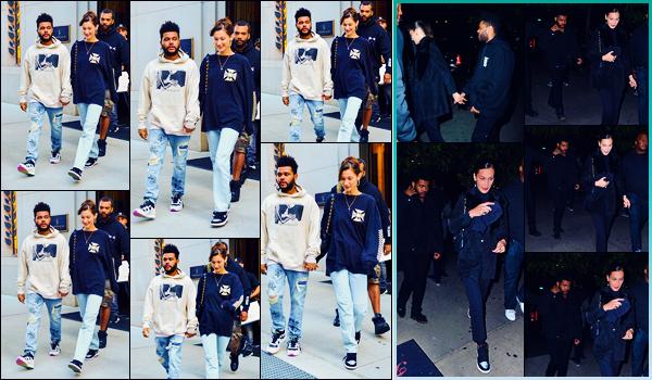 -03/10/2018- ─ Bella Hadid a été photographiée alors qu'elle quittait son appartement se situant dans la ville à New-YorkLa belle mannequin Bella Hadid, qui était en compagnie de The Weeknd, a également été photographiée quittant son appartement, la veille... Des tops !