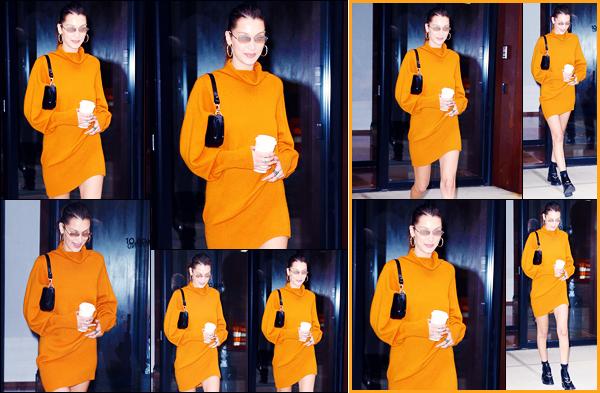 -08/10/2018- ─ Bella Hadid a été photographiée, alors, qu'elle quittait l'appartement de sa s½ur Gigi Hadid, à New-York !La belle mannequin Bella Hadid a rendue visite à sa grande s½ur à la veille de son anniversaire... Concernant sa tenue, c'est un jolie top, pour ma part !