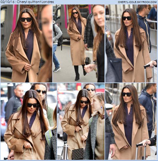 02/10/16 : Cheryl quittant Londres afin de se rendre à Paris