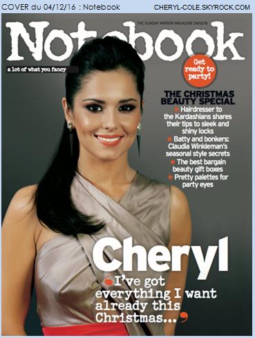 COVER : Cheryl pose pour Notebook en Décembre 2016