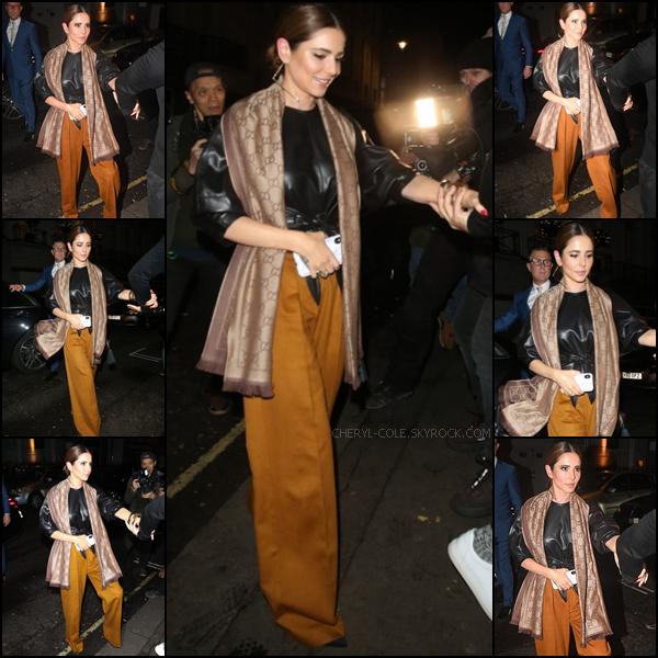 - 22/11/2019 : Cheryl.C lors de son arrivée et de son départ au restaurant  Bagatelle  de Londres, UK ! La tenue que porte Cheryl change j'aime beaucoup ! C'est un top.  -