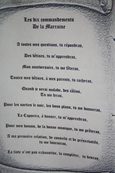 les dix commandements de la marraine