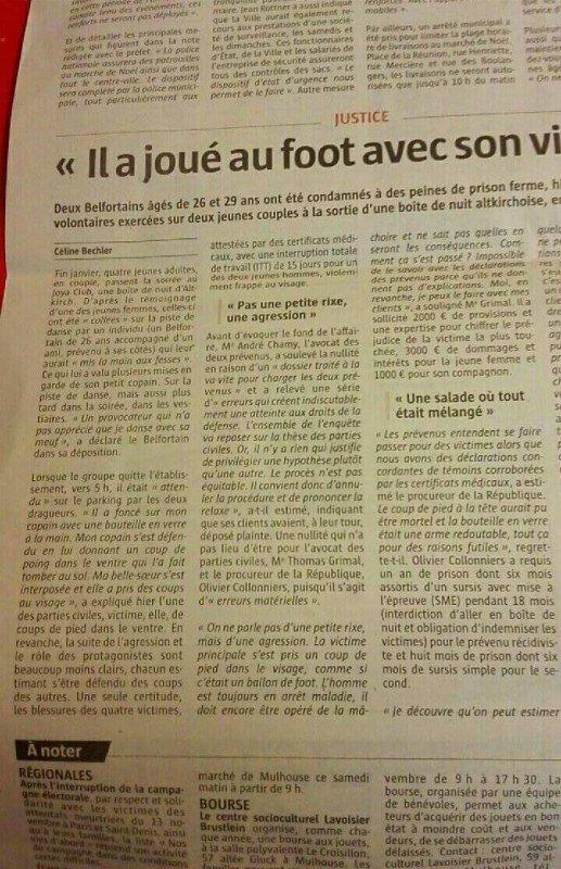 Joya 1fois de plus article dans le journal d'Alsace