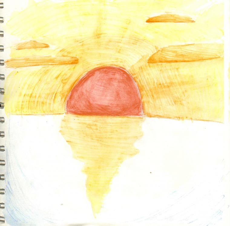 Coucher de soleil en aquarelle dessins - Coucher de soleil dessin ...