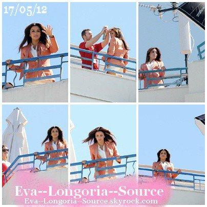 Eva Longoria a été aperçu sur le toît du célèbre hôtel Martinez à Cannes pour un photoshoot pour la marque L'Oréal, le 17 mai 2012.
