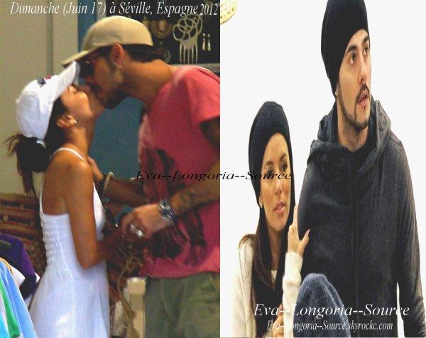 """Dimanche (Juin 17) 2012  à Séville, Espagne ; PHOTO - Eva Longoria embrasse son """"amor"""" Eduardo dans les rues de Séville !"""