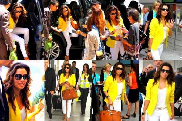 12.06.12 : Eva sortant de l'aéroport de Nice , Avec son blazer jaune flashy .. Pas mal non ?