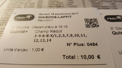 Quinté M.Laffitte Samedi 16 Sept.. = 3 quintés ch. réduit  bonus 3 et 4 pas loin encore !! fait 2 tickets la patronne c'est planté elle m'avais validé en flexi, j'ai demandé donc deux tickets= 2 euros !!!