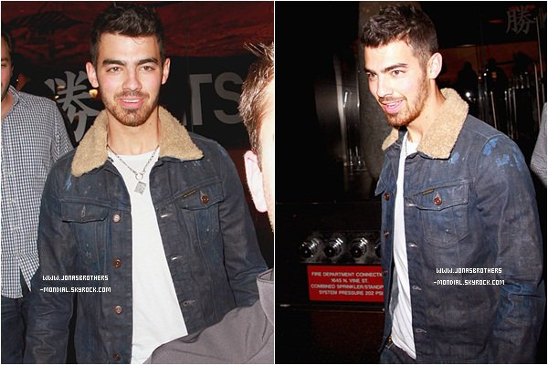 Le 8 mars 2011 : Joe  a été repéré quittant le  restaurant japonais Katsuya  à West Hollywood Puis  sortant de la boîte de nuit Trousdale avec des amis.  Le 10 mars 2011 : Joe était à l'aéroport de Los Angeles.