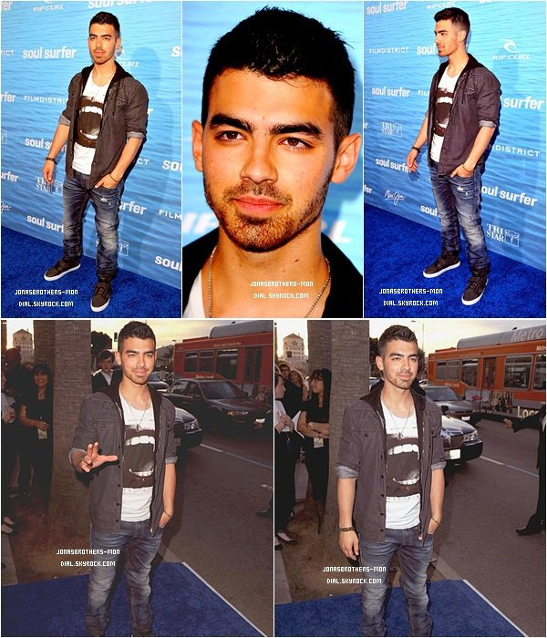 "Le 30 mars 2011 : Joe Jonas sur le tapis rouge de la première du film "" Soul Surfer"" qui avait lieu au Dôme Arclight cinéma à Hollywood. TOP OU FLOP ?  Le 30 mars 2011 : Joe été au lancement de la collection Victoria's Secret Swim."