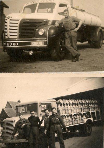 mon père avec son berliet de la laiterie de Nesle en 1961 la deuxieme photo un unic zu 71 sorti au salon du poids lours en  octobre 1946 merci a mon ami georges magnum 31gb