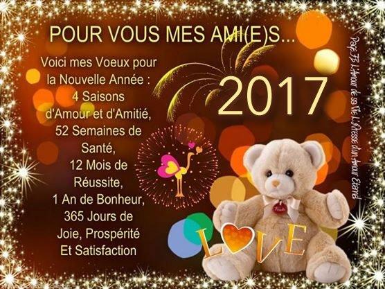 Pour vous mes ami(e)s... Voici mes voeux pour la nouvelle année: 4 saisons d'amour et d'amitié, 52 semaines de santé, 12 mois de réussite, 1 an de bonheur, 365 jours de joie, prospérité et satisfaction 2017