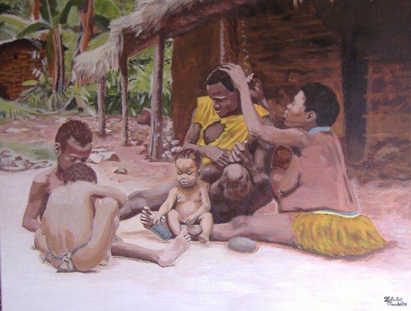 famille pygmée taille 90x70