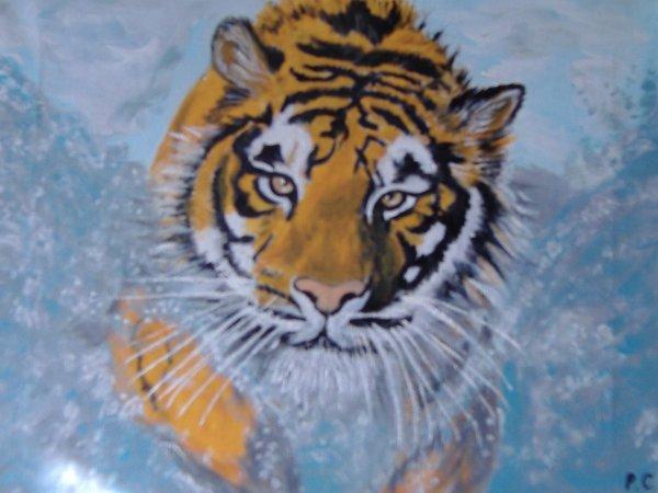 tableau tigre 40x30 que j'ai vendu !