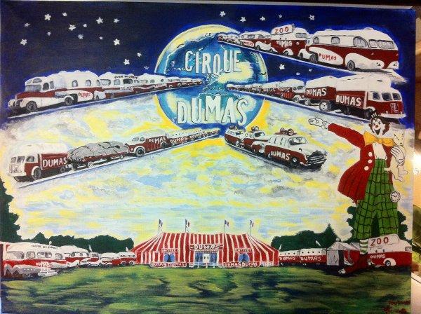 une vieille photo en noir et blanc du cirque dumas, que j'ai fais en tableaux de peinture tout en couleurs!