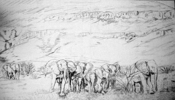 troupeaux éléphants au trayons de papier
