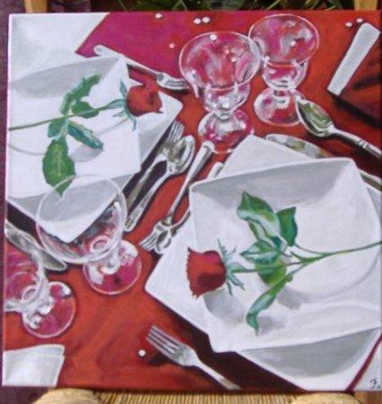 repas de st.valentin.acrylique sur toile taille 40x40 cm