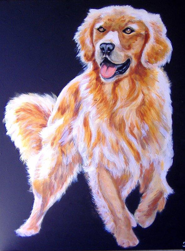 golden retriever n1 (40x50) peinture acrylique sur toile