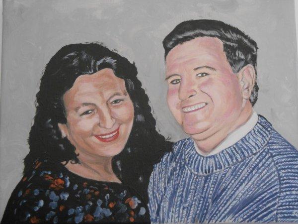 (peinture acrylique) mes parents que je porterais toujours dans mon coeur!