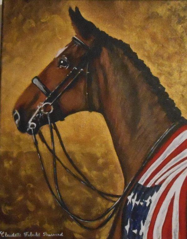 profil de cheval de courses! toile de lin peint à l'acrylique taille 33x41cm.