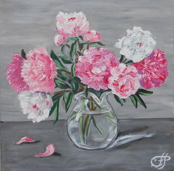 bouquet de pivoines ( acrylique aux pinceaux et couteaux)