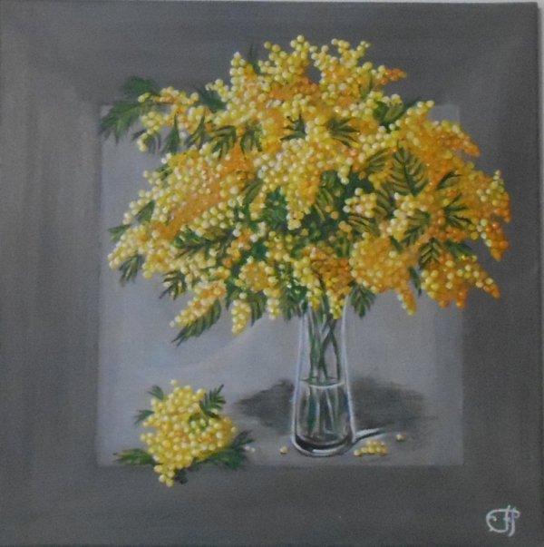 peinture sur toile. bouquet de mimosas 50x50cm