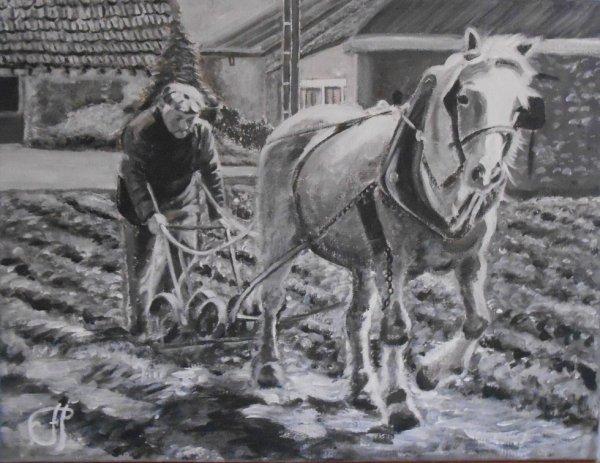 toile peint noir et blanc 35x27cm