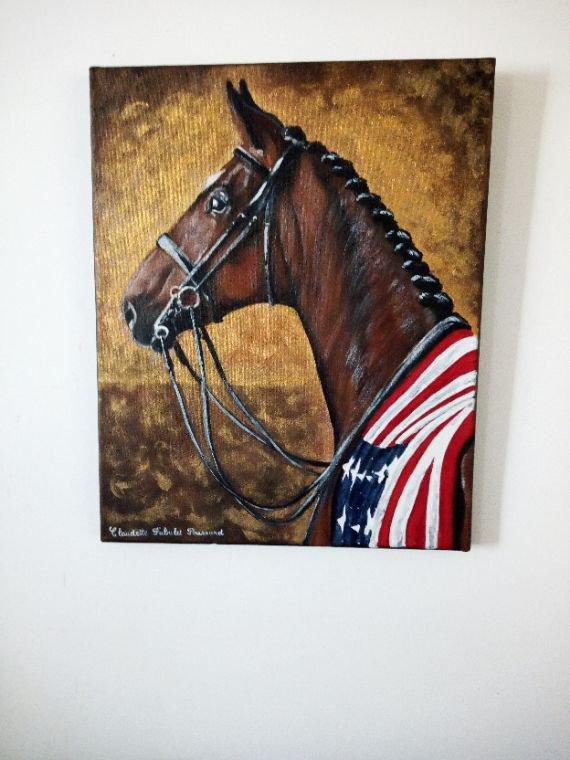 Toile cheval peinte à l'acrylique 50x40cm