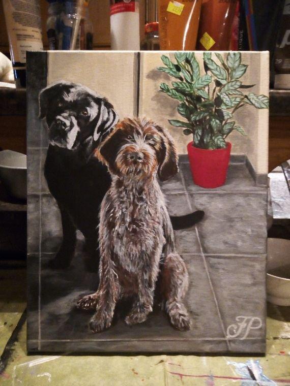 Labrador, cortal griffon. toile peinte à l'acrylique