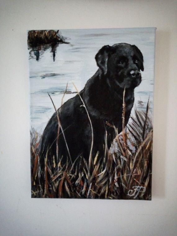 Labrador toile peinte à l'acrylique