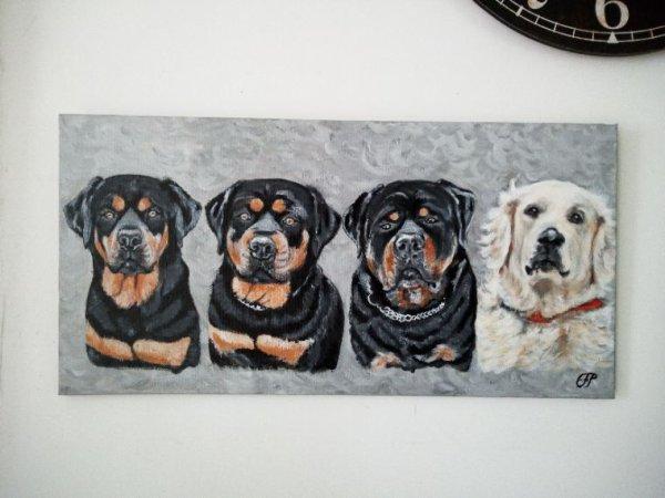 Quatre chiens peint sur toile 80x40cm