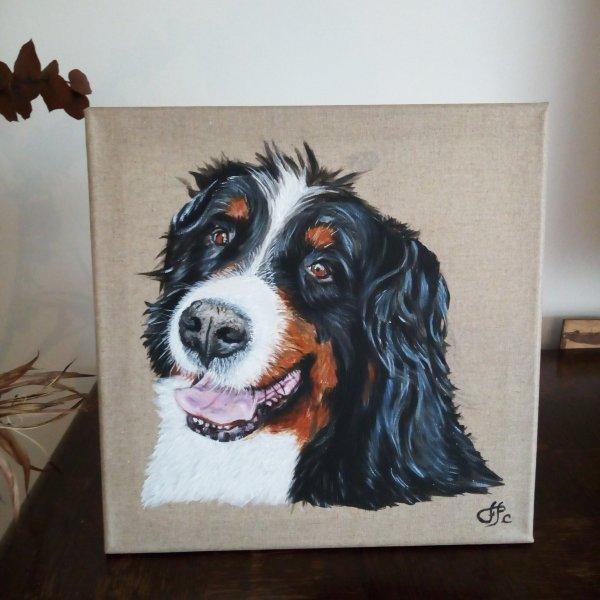 Portrait de chien peinture sur toile
