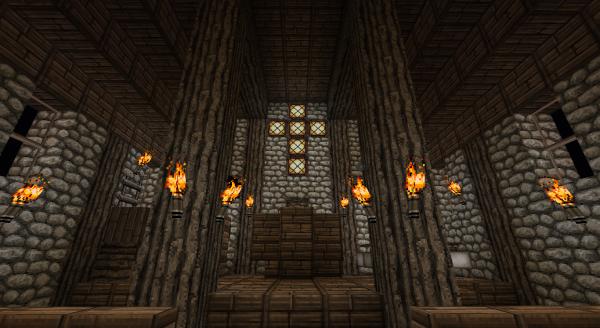 minecraft création village : intérieur église - Adnes