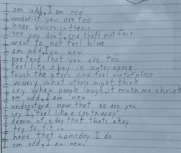 Un garçon autiste de 10 ans écrit un poème