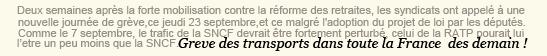 . ACTUALITÉ - Journée de grève jeudi, les trafics seront perturbé partout en France ! .
