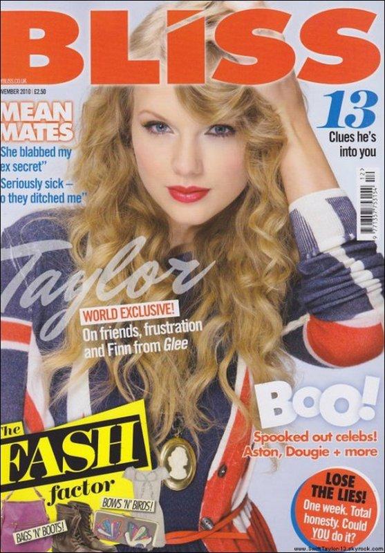 Taylor est en couverture du magazine Bliss de la revue britannique de Novembre 2010 avec par la même occasion un tout nouveau photoshoot. 'Behind the scene' de Taylor lors du photoshoot pour le magazine Bliss.