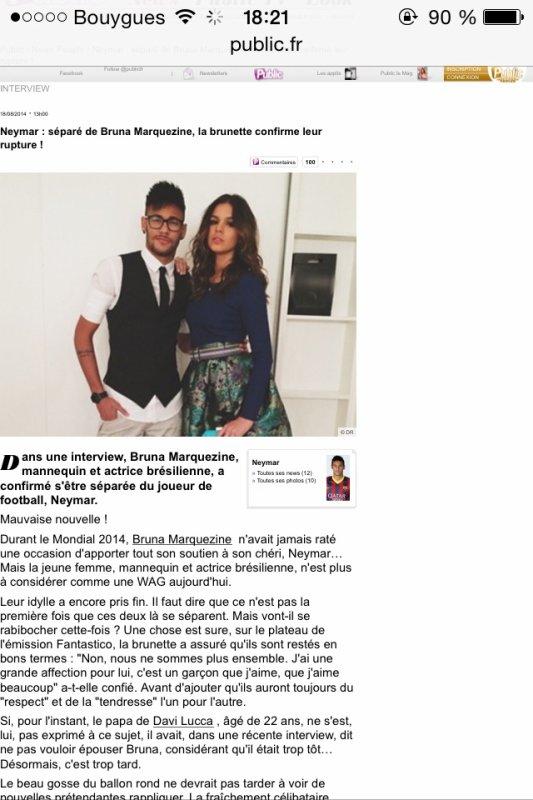 Neymar&Bruna c'est fini