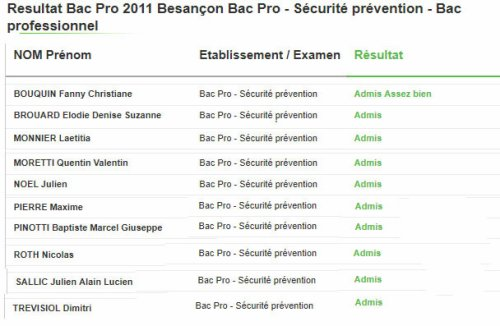 RESULTAT BAC PRO SECURITE PREVENTION 2011