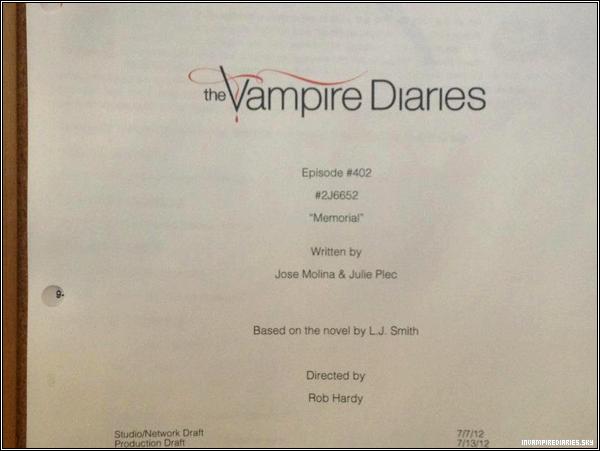 . ♦  Saison 4 - Julie Plec dévoile le titre de l'épisode 2 !  Seulement quelques jours après la révélation du titre du premier épisode, voilà que Julie Plec a dévoilé le titre de l'épisode 2 ! Ce deuxième épisode s'intitulera donc « Memorial ». .