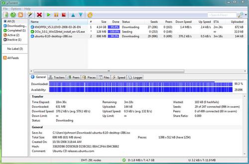 uTorrent 2.2.0 Build 23774----->Jeudi 16 Decembre 2010(derniere mise à jour)