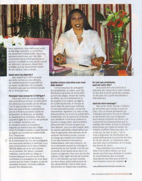 Interview pour le Magazine Femme Africaine Aout-Octobre