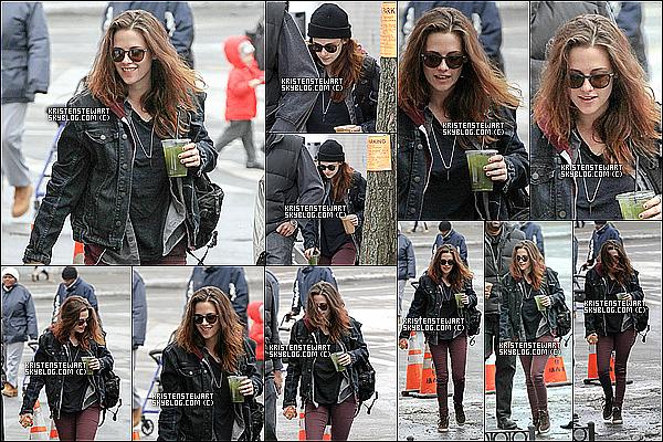 """03/03/2014 :  Voici quelques photos de miss  Kristen Stewart sur le tournage de """" Still Alice """" à -  New York  !   J'aime la coiffure de K pour ce film sa la change des cheveux sur le cote pour une foi, pour ce qui est de sa boisson wtf quesque c'est ??"""