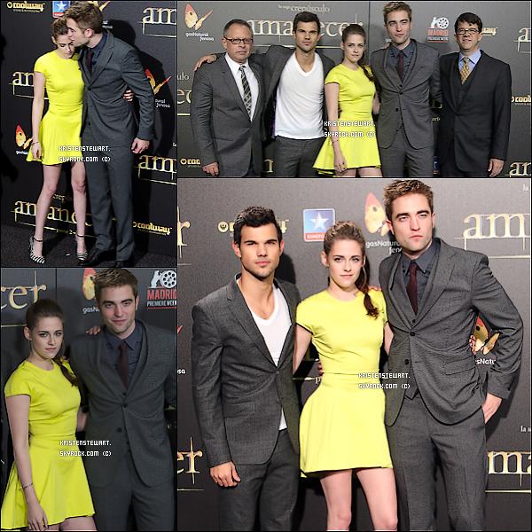 15/11/2012-  Kristen, Rob, Taylor étaient à une conférence de presse pour BD2 à Madrid.
