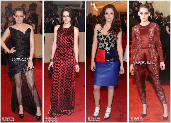 Kristen c'est rendue 4 années consécutives aux Met's Costume Institute Gala, mais quelles tenues préférez-vous ?