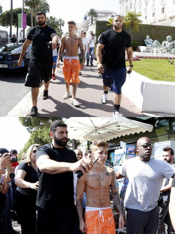 20 Mai 2014 - Cannes : Justin va rejoindre sa voiture sur La Croisette